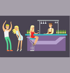 people drinking at bar and dancing in vector image