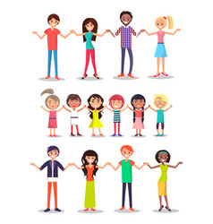People united common idea holding hands standing vector