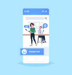 people using mobile app chat bubble social media vector image