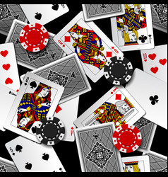 playing cards and casino chips seamless pattern vector image