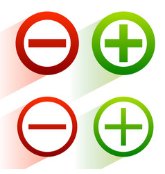 Plus minus signs addition subtraction icons vector