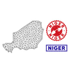 Polygonal wire frame niger map and grunge stamps vector