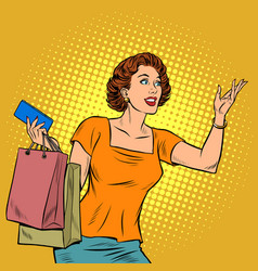 pop art woman with shopping vector image