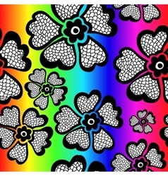 Rainbow floral seamless pattern with gradient vector