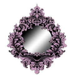 rich purple baroque mirror frame french vector image