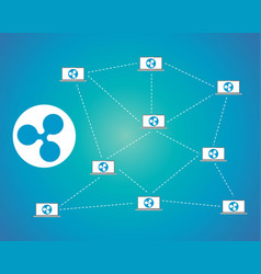 Ripple connection blockchain background style vector