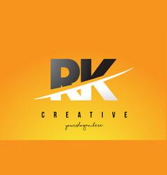 Rk r k letter modern logo design with yellow vector