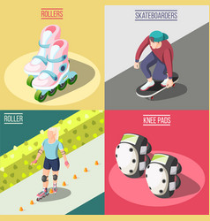 Roller and skateboarders 2x2 design concept vector