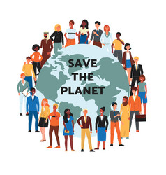 save planet banner with multi ethnic people vector image