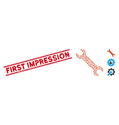 Scratched first impression line seal with collage vector