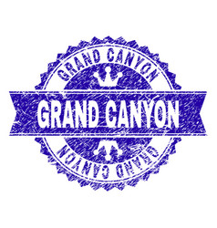 Scratched textured grand canyon stamp seal with vector