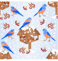 seamless texture bluebirds with feeder with snow vector image