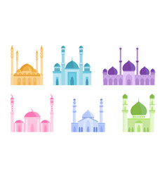 Set colorful mosque islamic holiest worship vector