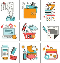 Set of flat icons for online shopping vector