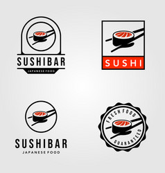 set sushi japanese food vintage logo vector image