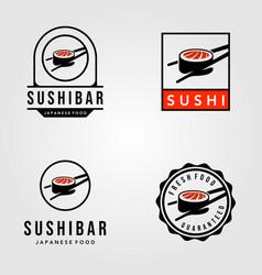 set sushi japanese food vintage logo vector image