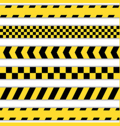 Set yellow barrier tapes vector