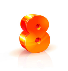 Shiny orange red 3d number 8 isolated on white vector