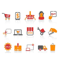 Shopping online icons orange series vector
