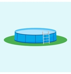 Single above ground pool on grass vector
