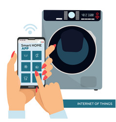 smart washing machine with remote control vector image