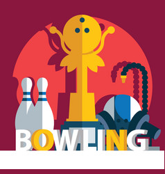 square composition with word bowling pins and vector image