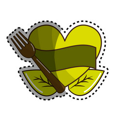 sticker green heart with ribbon fork and leaves vector image