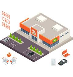 Supermarket exterior credit cart pos terminal vector