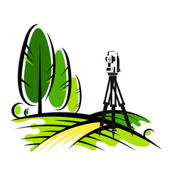 surveying instruments in the field vector image