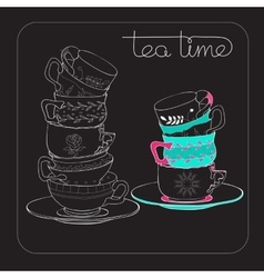 Tea Time card with hand drawn cup isolated on vector image