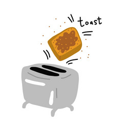 Toaster and slice bread kitchen equipment vector