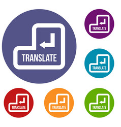 translate button icons set vector image