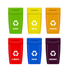 trash cans containers garbage for different types vector image