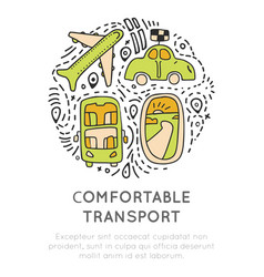 Travel transport icon collection travelling vector