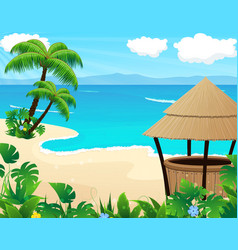 Tropical beach with cocktail Bar vector image