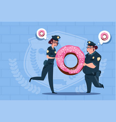 Two police women holding donut wearing uniform vector