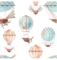 Watercolor fairy aircrafts pattern vector