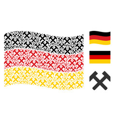 waving germany flag collage of hammers items vector image