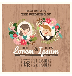 wedding invitation card with cute groom and bride vector image