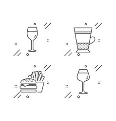 Wine glass burger and double latte icons set vector
