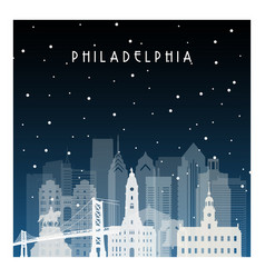 Winter night in philadelphia night city in flat vector