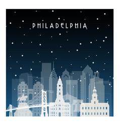 winter night in philadelphia night city in flat vector image