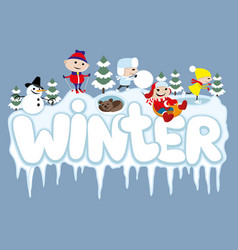 Winter sign with joyful children vector