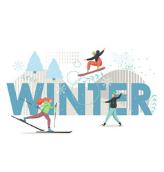 winter sport flat style design vector image