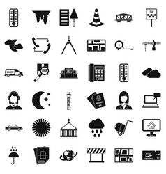 Woman dispatcher icons set simple style vector
