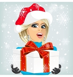 woman offering a christmas gift vector image
