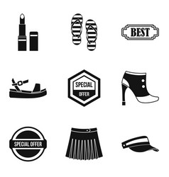 Woman shopping icons set simple style vector