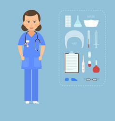 women nurse in a blue uniform and medical vector image