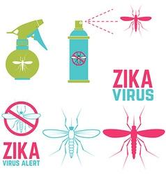 zika virus alert set design elements vector image