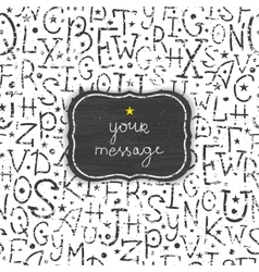 Chalkboard alphabet letters frame seamless pattern vector image